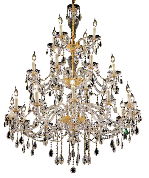 Elegant Alexandria 24 Light Gold Chandelier Clear Swarovski® Elements Crystal 7829G45G/SS