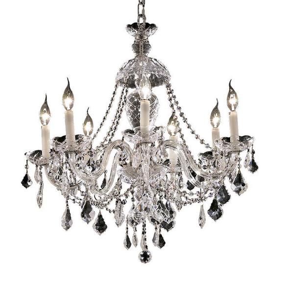 Elegant Alexandria 7 Light Chrome Chandelier Clear Spectra® Swarovski® Crystal 7831D26C/SA