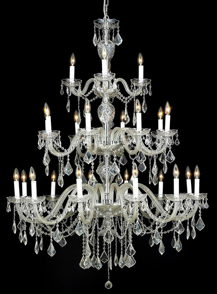 Elegant Alexandria 24 Light Chrome Chandelier Clear Spectra® Swarovski® Crystal 7831G45C/SA