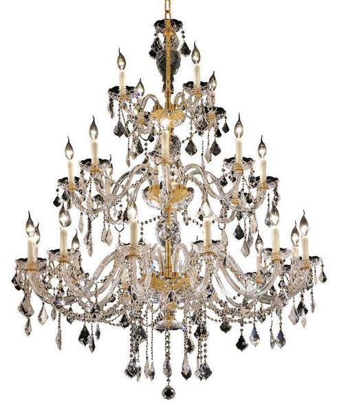 Elegant Alexandria 24 Light Gold Chandelier Clear Swarovski® Elements Crystal 7831G45G/SS