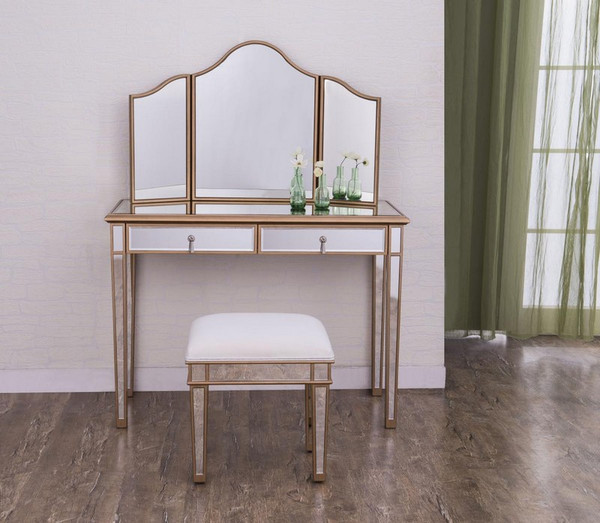 Elegant Vanity Table 42 In. X 18 In. X 31 In. And Mirror 39 In. X 24 In. And Chair 18 In. X 14 In. X 18 In.  MF6-2004G