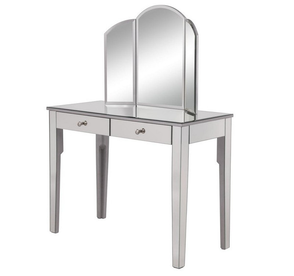 Elegant Vanity Table 42 In. X 18 In. X 31 In. And Mirror 32 In. X 24 In.  MF6-2011S