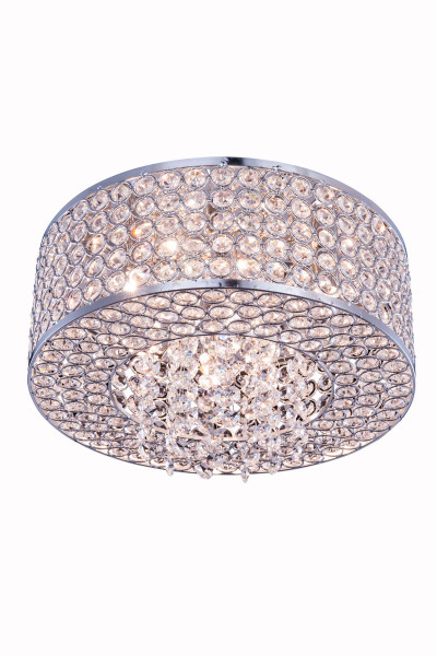 Elegant Amelie 4 Light Chrome Flush Mount Clear Royal Cut Crystal V2914F12C/RC