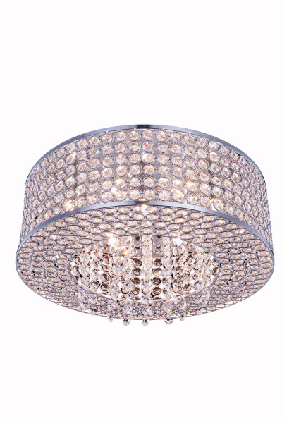 Elegant Amelie 6 Light Chrome Flush Mount Clear Royal Cut Crystal V2914F16C/RC