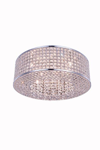Elegant Amelie 8 Light Chrome Flush Mount Clear Royal Cut Crystal V2914F20C/RC