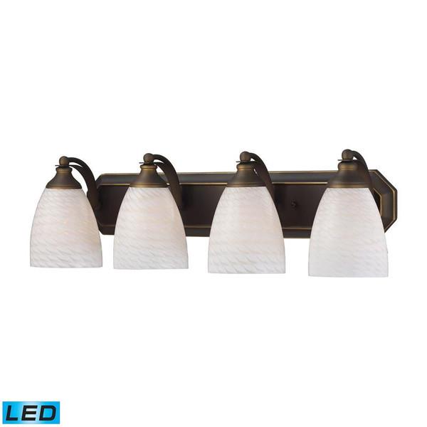 Elk 4 Light Vanity Aged Bronze & White Swirl Glass-Led 570-4B-WS-LED