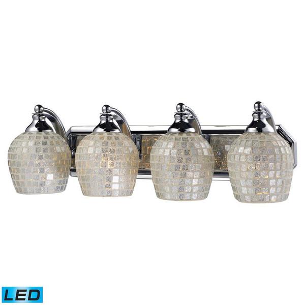 Elk 4 Light Vanity Polish Chrome & Silver Mosaic Glass-Led 570-4C-SLV-LED