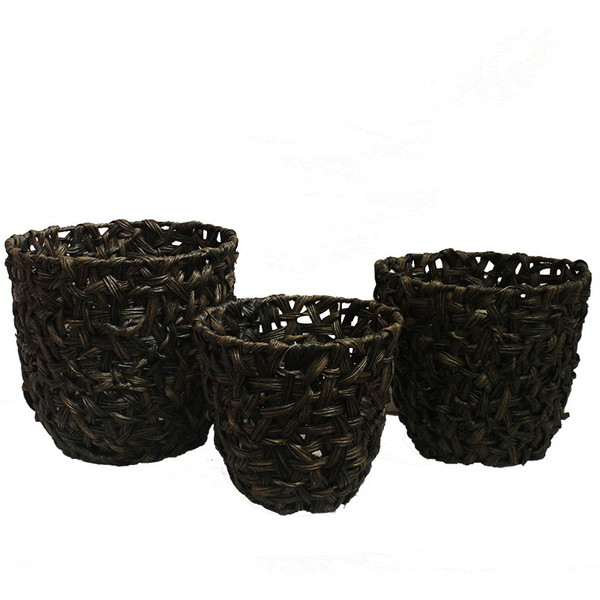 EN112192 Essential 3 Piece Round Malti Brown Plastic Basket - Pack Of 8