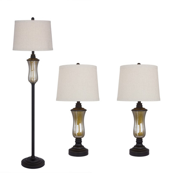 5097 Fangio 3 Piece Seeded Glass & Metal Lamp Set In Bronze Finish