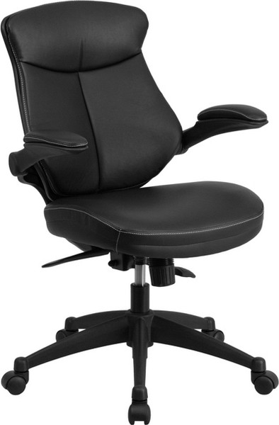 Black Leather Office Chair w/Adj. Back & Flip-Up Arms BL-ZP-804-GG
