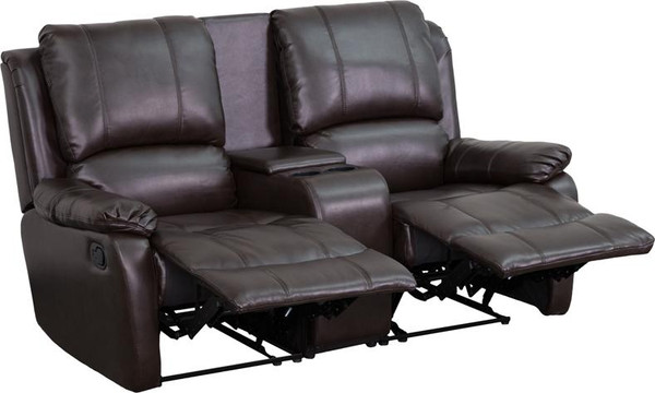 Brown Leather Pillowtop 2-Home Theater Recliner BT-70295-2-BRN-GG