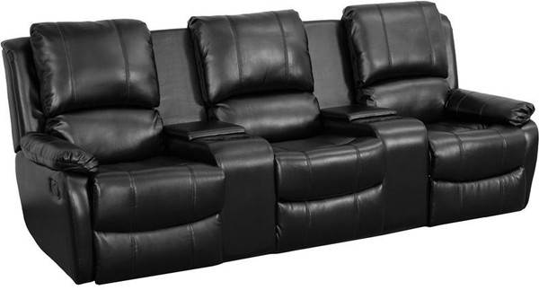 Black Leather Pillowtop 3-Home Theater Recliner BT-70295-3-BK-GG