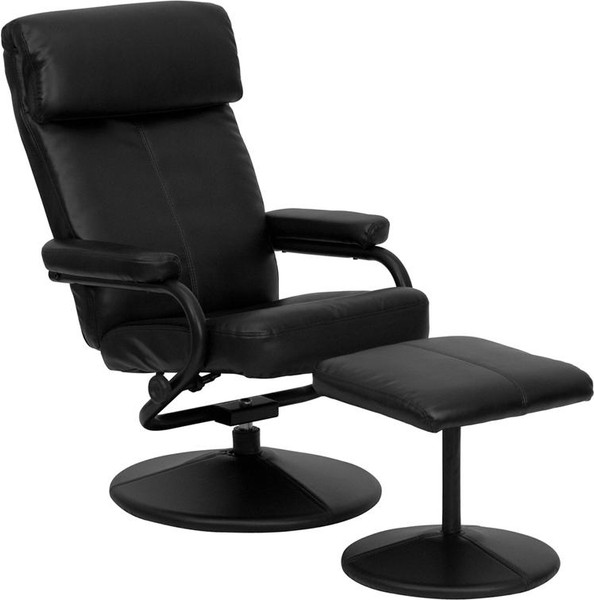 Black Leather Recliner & Ottoman w/ Leather Wrapped Base BT-7863-BK-GG