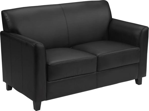 Flash Hercules Diplomat Black Leather Love Seat BT-827-2-BK-GG