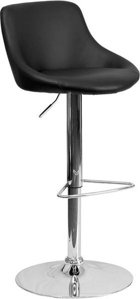Black Vinyl Bucket Seat Adj. Bar Stool CH-82028-MOD-BK-GG