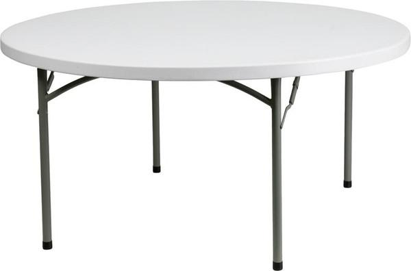 60'' Round Granite White Plastic Folding Table DAD-YCZ-152R-GW-GG