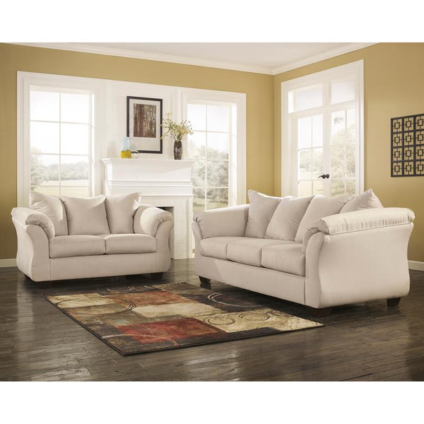 Signature Darcy Living Room Set In Stone Fabric FSD-1109SET-STO-GG