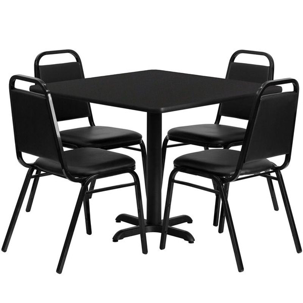 """36"""" Sq. Table Set w/Trapezeal Back Banquet Chairs HDBF1009-GG"""
