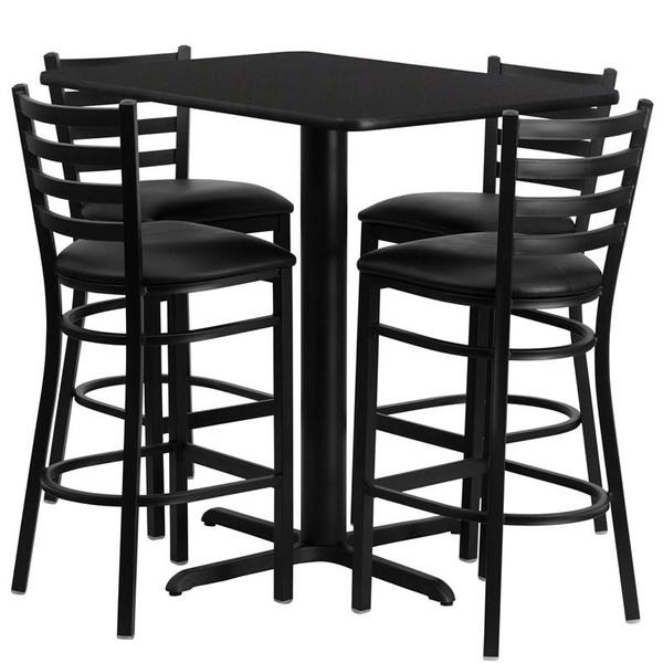 "24x42"" Black Table Set w/Ladder Back Bar Stool & Black HDBF1017-GG"