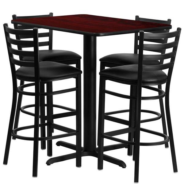 24''Wx42''L Mahogany Table Set w/ Bar Stool & Black Seat HDBF1018-GG