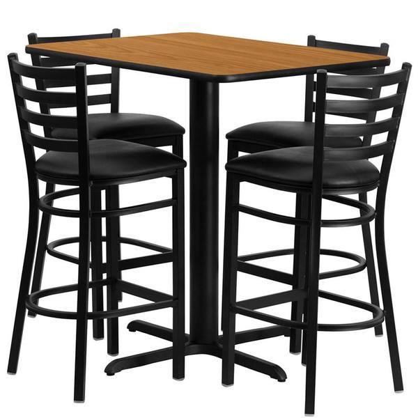 "24x42"" Natural Table Set w/Ladder Back Bar Stool & Black HDBF1019-GG"