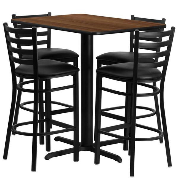 "24x42"" Walnut Table Set w/Ladder Back Bar Stool & Black HDBF1020-GG"
