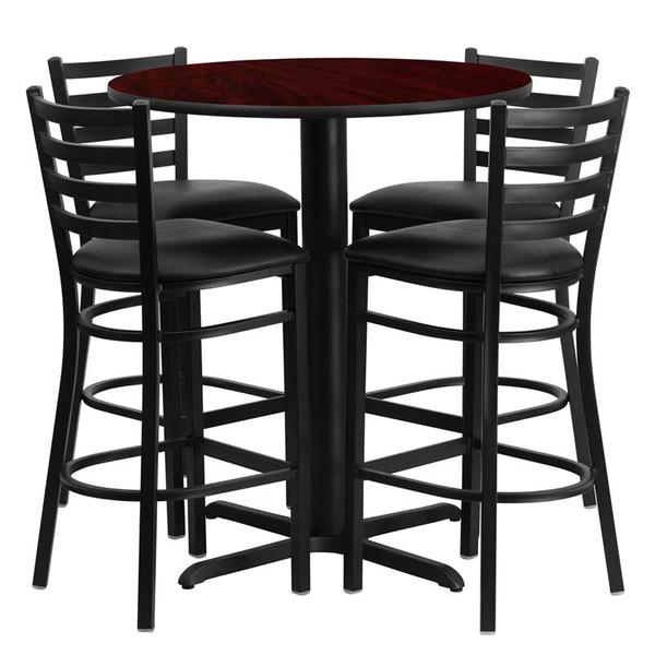 "30"" Rd. Mahogany Table Set w/Metal Bar Stool & Black Seat HDBF1022-GG"