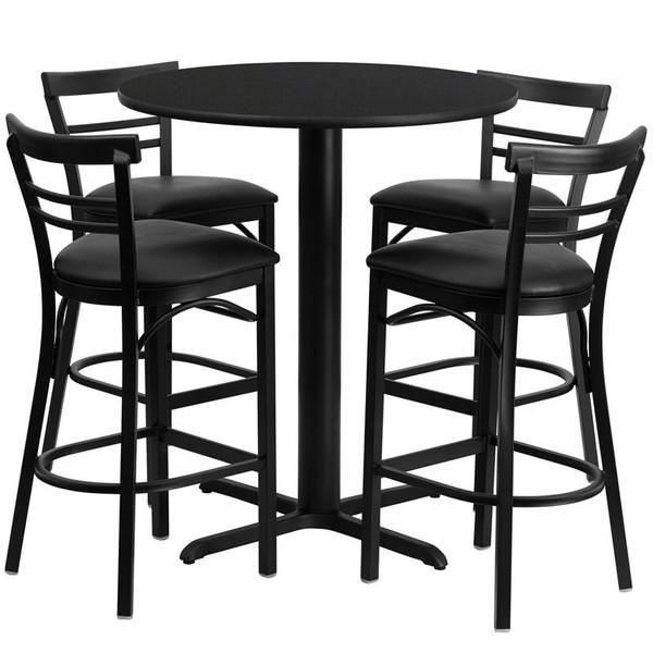 "24"" Rd. Black Table Set w/Ladder Back Bar Stool & Black HDBF1033-GG"