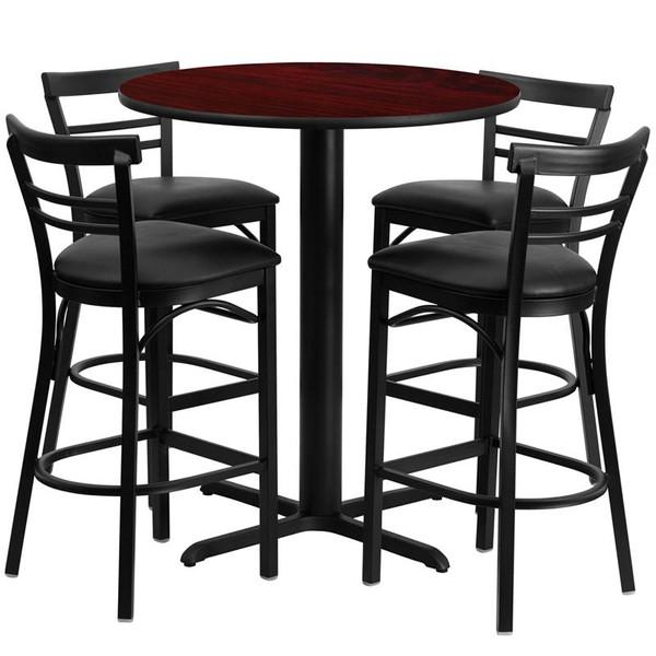 "24"" Rd. Mahogany Table Set w/Metal Bar Stool & Black Seat HDBF1034-GG"