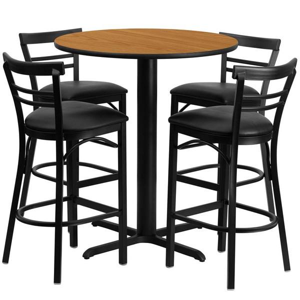 """24"""" Round Natural Table Set w/Metal Bar Stool & Black Seat HDBF1035-GG"""