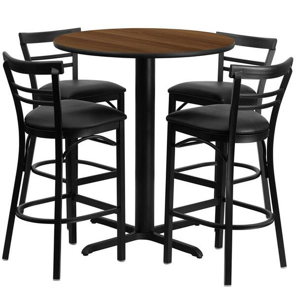 """24"""" Rd. Walnut Table Set w/Ladder Back Bar Stool & Black HDBF1036-GG"""