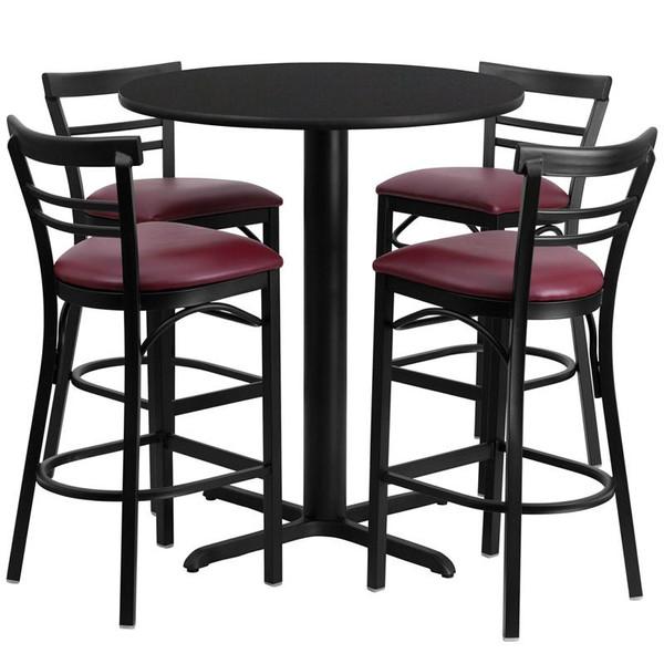 "24"" Rd. Black Table Set w/Metal Bar Stool & Burgundy Seat HDBF1037-GG"