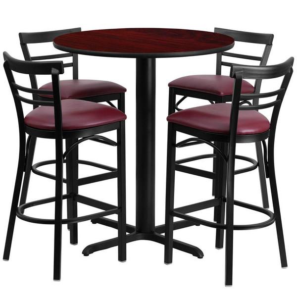 "24"" Rd. Table Set w/Ladder Back Bar Stool & Burgundy HDBF1038-GG"