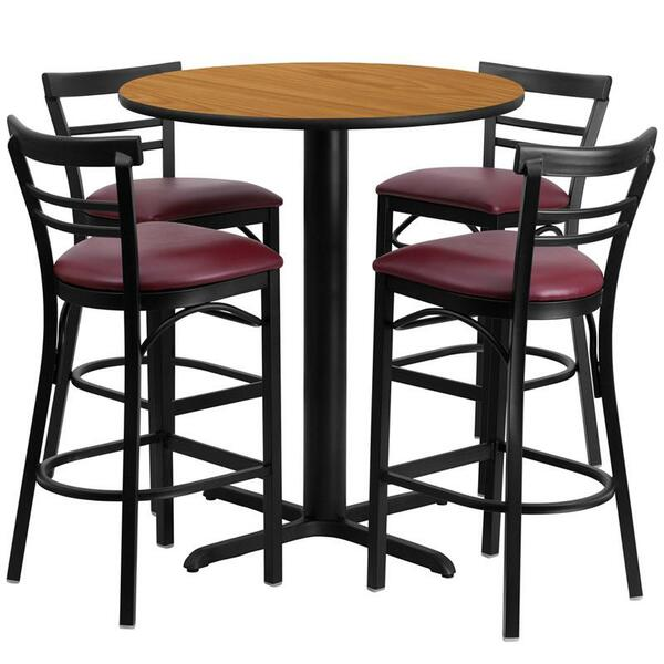 "24"" Rd. Natural Table Set w/Ladder Back Bar Stool HDBF1039-GG"