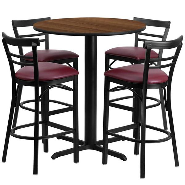 """24"""" Rd. Walnut Table Set w/Ladder Back Bar Stool HDBF1040-GG"""