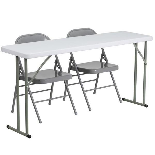 "18x60"" Plastic Folding Training Table w/2 Folding Chairs RB-1860-1-GG"