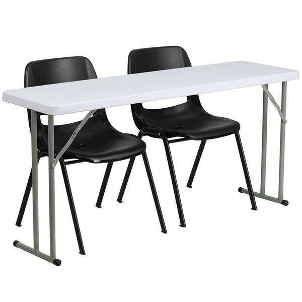 "18x60"" Plastic Folding Training Table w/2 Plastic Chairs RB-1860-2-GG"