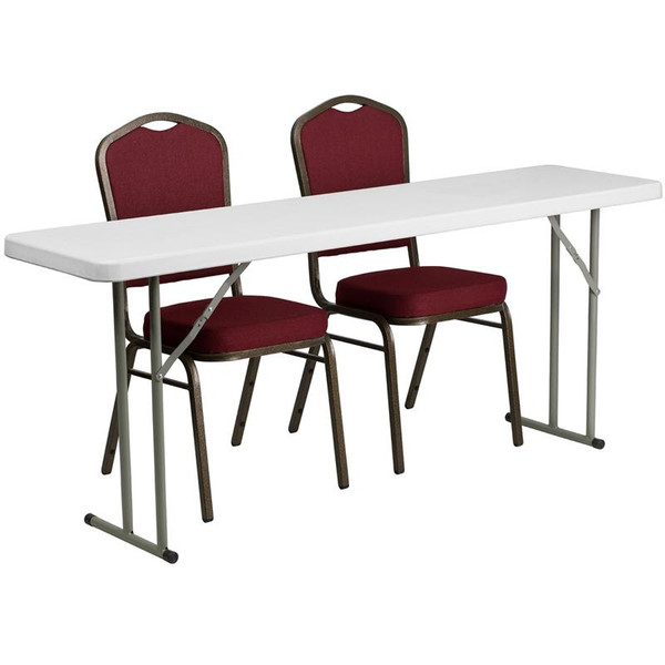 "18x72"" Plastic Folding Training Table w/2 Crown Chairs RB-1872-1-GG"