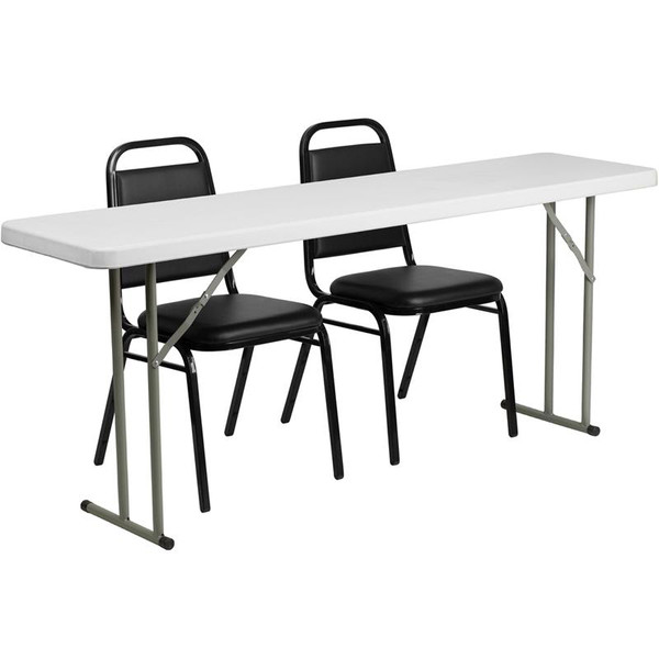 18x72 Plastic Folding Training Table w/2 Trapezeal Chairs RB-1872-2-GG