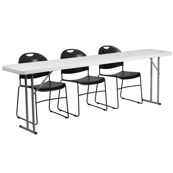 "18x96"" Plastic Folding Training Table w/3 Plastic Chairs RB-1896-1-GG"