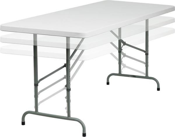 30''Wx72''L Ht. Adj. Granite White Plastic Folding Table RB-3072ADJ-GG