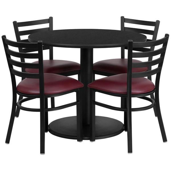 36'' Round Black Table Set w/ 4 Metal Chairs-Burgundy Seat RSRB1005-GG