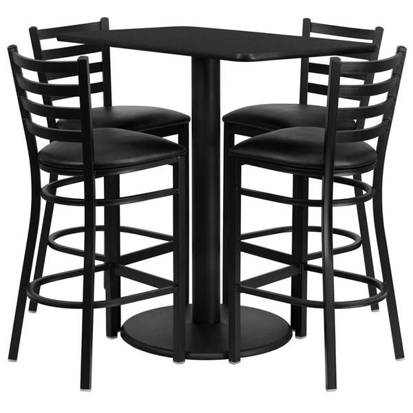 "24x42"" Black Table Set w/4 Ladder Back Bar Stools-Black RSRB1017-GG"