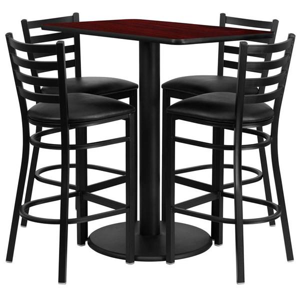 24''x42'' Mahogany Table Set w/ 4 Bar Stools -Black Seat RSRB1018-GG