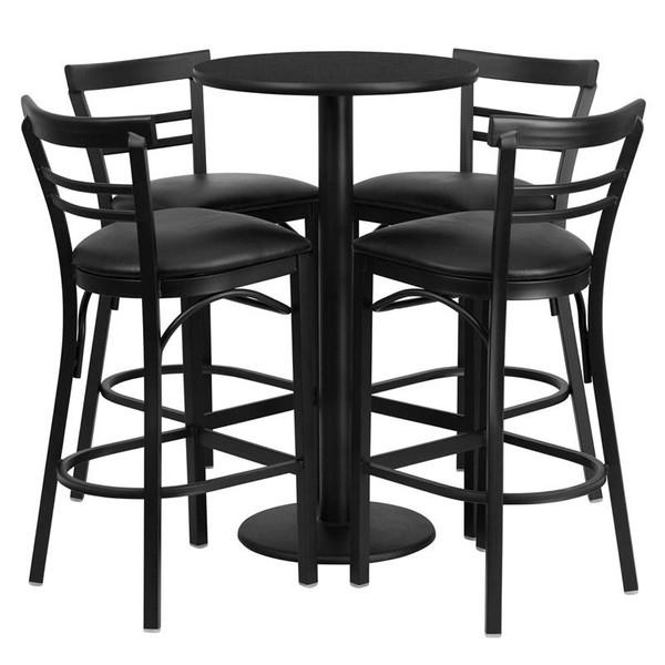 "24"" Rd. Black Table Set w/4 Ladder Back Bar Stools-Black RSRB1033-GG"