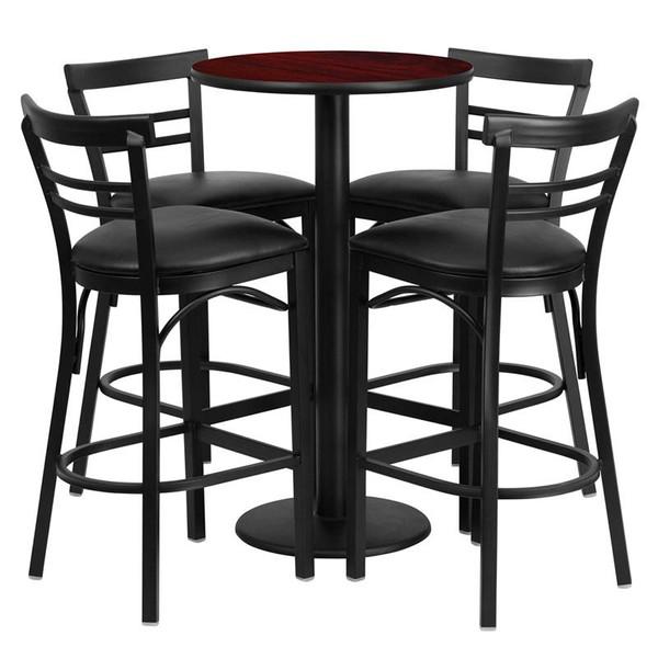 "24"" Rd. Table Set w/4 Ladder Back Bar Stools-Black RSRB1034-GG"