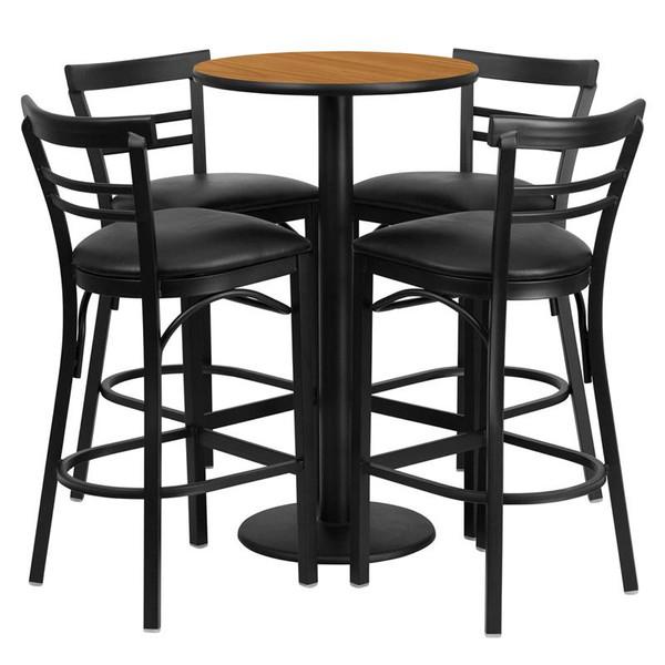 """24"""" Rd. Natural Table Set w/4 Ladder Back Bar Stools-Black RSRB1035-GG"""