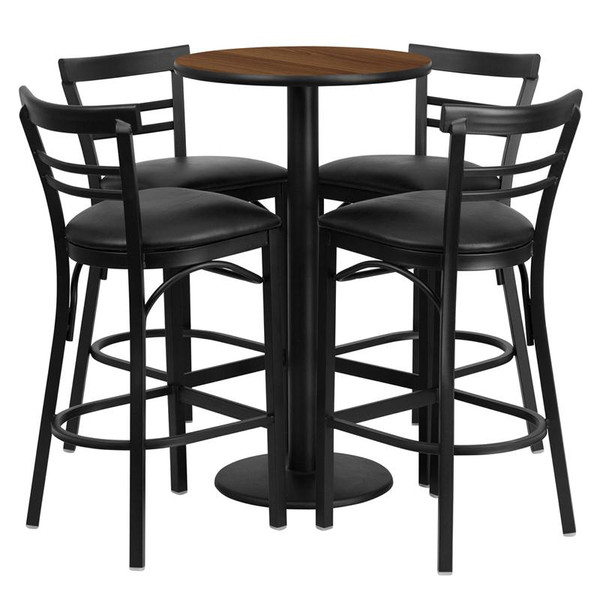 "24"" Rd. Walnut Table Set w/4 Ladder Back Bar Stools-Black RSRB1036-GG"