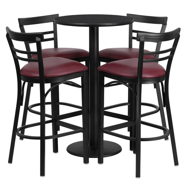 "24"" Rd. Black Table Set w/4 Ladder Back Bar Stools RSRB1037-GG"