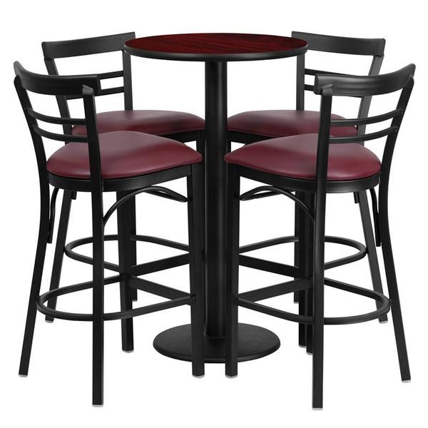 "24"" Round Mahogany Table Set w/4 Bar Stools-Burgundy Seat RSRB1038-GG"